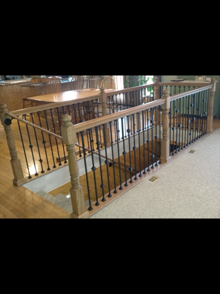 Wood and Metal Spindles for Custom Staircase